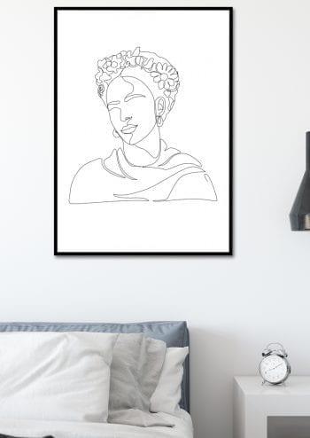 Poster Frida Kahlo Lineart 2