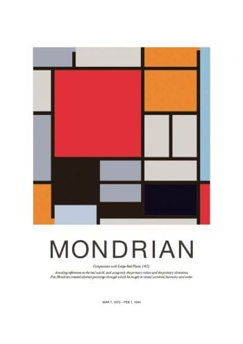 Poster Mondrian Composition Large Red 1