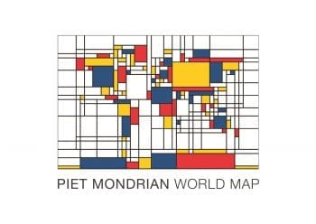 Poster Mondrian World Map 1