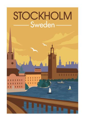 Poster Stockholm Vintage Retro 1