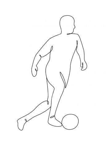 Poster Fotbollsspelare Lineart 1