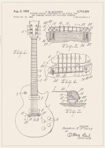 Poster Gibson gitarr patent 1