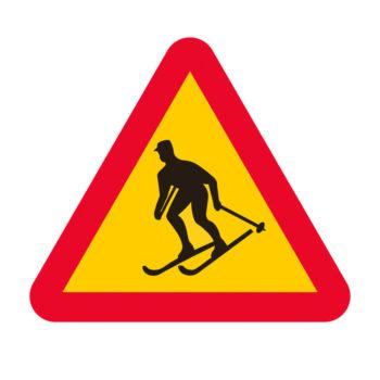 Poster Skidåkare - varning 2