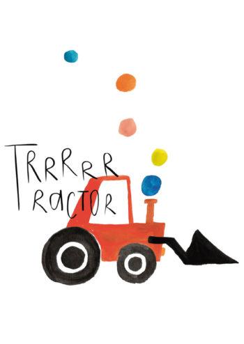 Poster Traktor röd 1