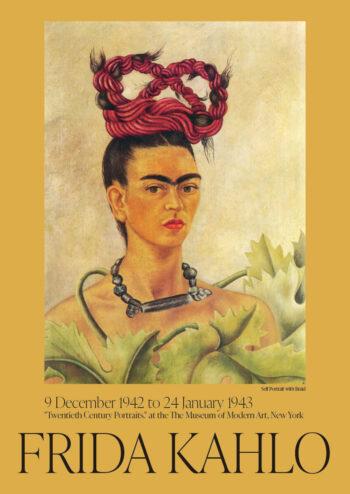 Poster Frida Kahlo självporträtt med fläta Poster 1