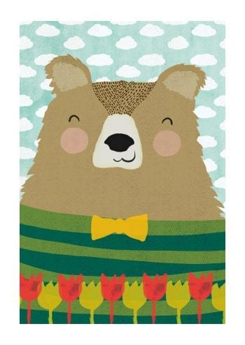 Poster Bear in green stripes 1